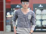 2014秋季新款男士休闲韩版V领长袖韩版针织衫青年修身套头毛衣潮