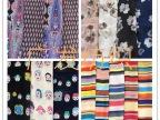 2015化纤雪纺服装面料 乱麻印花 卡通 条纹 碎花定位花布料批发