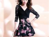 2014春季新款女装碎花V领长袖蕾丝性感显瘦透明袖荷叶边连衣裙女