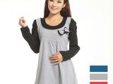 2014新款孕妇装 纯棉韩版假两件长袖针织孕妇上衣T恤批发一件起