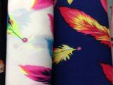 厂家直销批发 夏季时尚厚雪纺布料 韩国绒羽毛图案服装布料面料