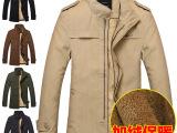 外贸男装潮2014年冬季新款男中长款加绒棉服韩版修身商务外套棉衣