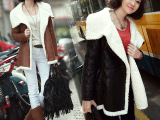 厂家直销 新品秋冬装女韩版棉衣中长款羊羔毛棉服翻领大衣外套
