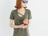 8617#韩国T恤东大门2014夏季新款韩版女装纯色V领短袖t恤