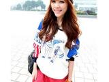 2013韩版 女装秋冬新款三个圣诞老人拼色长袖宽松卫衣243