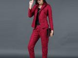 厂家直销 2015秋款女式休闲西装套装 通勤长袖西装长裤女套装