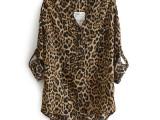 2014欧美风新品豹纹印花V领小立领长袖衬衫女