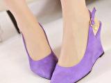 2014春季新款欧美范复古小尖头浅口鞋高跟鞋平底坡跟 女凉鞋单鞋