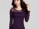 秋装新款韩版圆领长袖网纱烫钻纯色打底衫女t恤