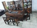 老船木家具茶台批发 老船木仿古茶桌椅厂家直销