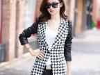 免费一件代发秋装新款女士韩国pu皮袖千鸟格小西装西服外套6138