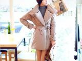 小香风棉衣棉袄外套 2014冬新款韩版修身系带加厚中长款棉衣女