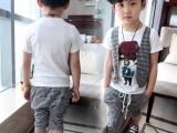 2014韩版童装儿童夏装格子假马甲烫钻中裤男童两件套儿童休闲套装