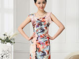 女式真丝连衣裙14夏新款高档印花裙子 修身显瘦短袖桑蚕丝连衣裙