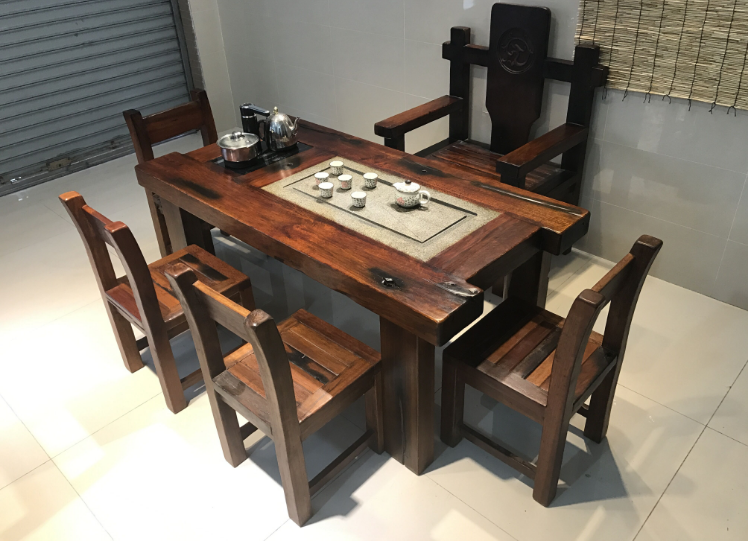 中山老船木家具客廳茶幾仿古功夫茶臺茶桌椅子