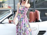 新款波西米亚风印花长连衣裙 雪纺印花挂脖百褶裙 厂家一件代发