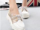 欧洲站秋季亮皮女板鞋厚底松糕跟单鞋 韩版新款低帮系带鞋子女鞋
