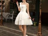 2014新款晚礼服蕾丝伴娘服短款婚纱单肩肩小礼服短裙修身短款敬酒