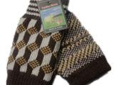 男士小方格双层保暖半指半包手套 露指毛线针织冬季手套批发
