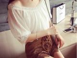 欧嫦 夏装新款复古宫廷风蕾丝V领褶皱雪纺衫上衣T恤女 一件代发