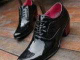男士高跟鞋时尚外增高鞋鳄鱼纹拼接尖头低帮皮鞋个性系带英伦男鞋