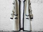 2014秋冬新款韩版小胡子提花针织衫开衫 女式 中长款毛衣外套  女