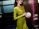 2015新款女装修身磨毛荷叶边包臀淑女打底连衣裙冬季