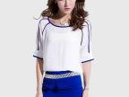 2014夏装新款中袖气质雪纺衫显瘦包臀短裙套装