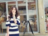 2014夏季新款 韩版条纹露肩短裙套装女海军风荷叶上衣
