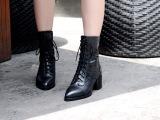 厂家直销克罗心2014秋冬新款粗跟短靴马丁靴女靴真皮女鞋批发代理