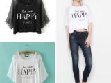 2014夏装新款HAPPY字母T恤短款欧美卡通体恤女4223-8