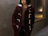 韩国ulzzang姜惠研学院风连帽牛角扣羊羔毛夹棉毛呢外套中长款