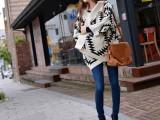 2015秋冬装几何菱形图案蝙蝠衫毛衣女宽松同款外套针织衫厂家直销