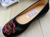 正品老北京布鞋女单鞋浅口牡丹花中老年防滑软底妈妈鞋舒适老人鞋