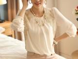 2014年春季新品 韩国金边刺绣淑女风圆领显瘦雪纺长袖衬衫大码女