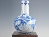 景德镇青花陶瓷花瓶 家居工艺品摆件摆设 仿古青花山水陶瓷花瓶