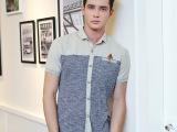 2014夏装男士短袖衬衣  韩版修身针织拼接拼色潮男短袖衬衫A1