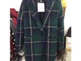韩国东大门代购韩版修身显瘦羊毛呢格子大衣中长款风衣外套女1947