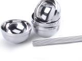 旗丰 不锈钢碗筷套装 4碗4筷 双层中空隔热碗筷子礼盒 [QF