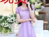 厂家直销2014夏装新款韩版修身蕾丝欧根纱圆领短袖女装