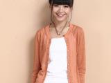 2014韩版时尚新款纯色开衫女针织衫秋外套经典搭配