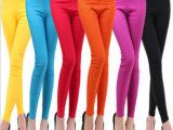 新款韩版女装高腰时尚打底裤糖果色 梭织九分裤显瘦小脚弹力裤女