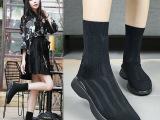 新款保暖毛线圆头女欧美厚底弹力靴中筒针织