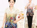 中老年女装妈妈装 韩版短袖宽松印花衬衫 大码女装 一件代发 批发