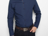 秋冬男装长袖衬衫 时尚修身碎花全棉衬衫男式 男式长袖休闲衬衫