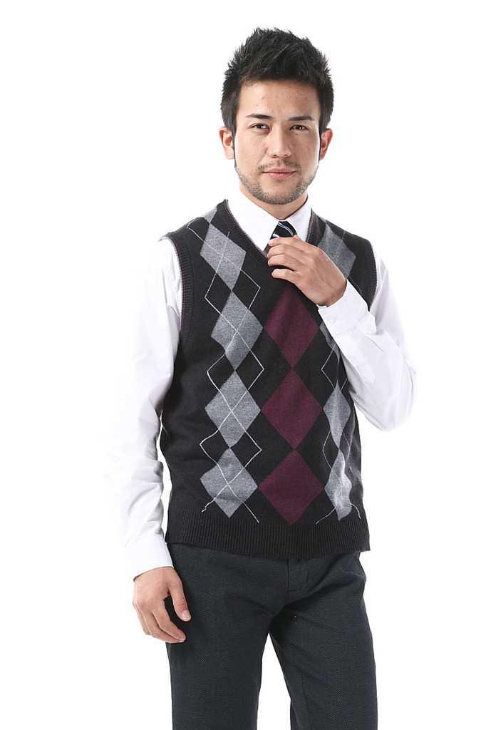 新款V领男装秋冬羊绒针织毛衣马甲 男士羊毛背心