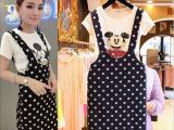 2015夏季新款韩版修身卡通短袖波点背带裙女式休闲套装
