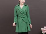 春季女士风衣外套批发 淡雅气质裙摆型系要带修身女士风衣大衣
