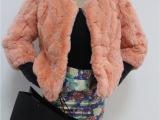 热销精品 獭 兔毛皮草 2014气质韩版女式纯色圆领獭兔毛外套皮