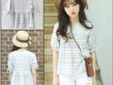 女式衬衫新款甜美休闲百搭格子棉麻可爱娃娃裙摆上衣衬衫